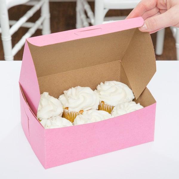 "7"" x 5"" x 3"" Pink Cake / Bakery Box - 250/Bundle"