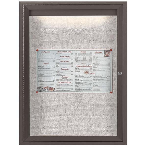 "Aarco LODCC2418RBA 24"" x 18"" Bronze Enclosed Aluminum Indoor / Outdoor Bulletin Board with LED Lighting"