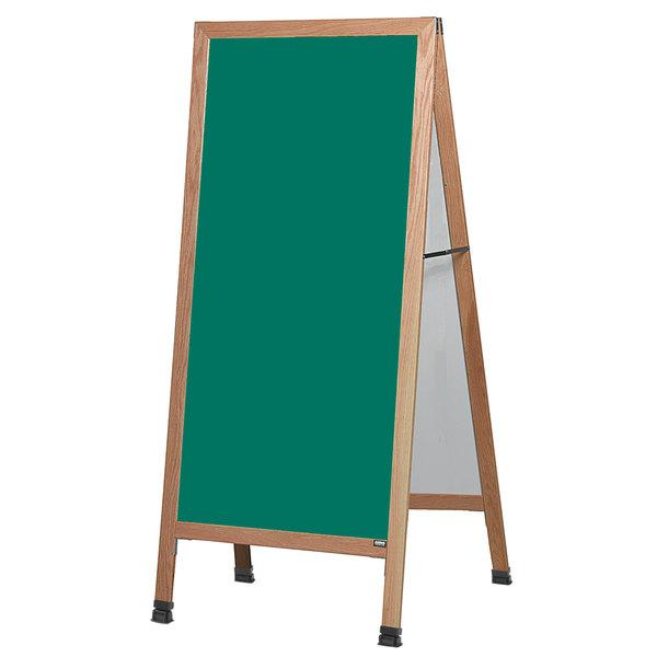 """Aarco LA1SG 68"""" x 30"""" Oak A-Frame Sign Board with Green Write-On Porcelain Chalk Board"""