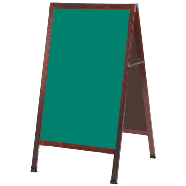 """Aarco MA-1G 42"""" x 24"""" Cherry A-Frame Sign Board with Green Write-On Chalk Board"""