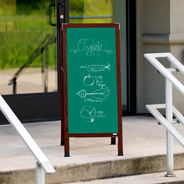"""Aarco MA-311SG 42"""" x 18"""" Cherry A-Frame Sign Board with Green Write-On Porcelain Chalk Board Main Image 10"""