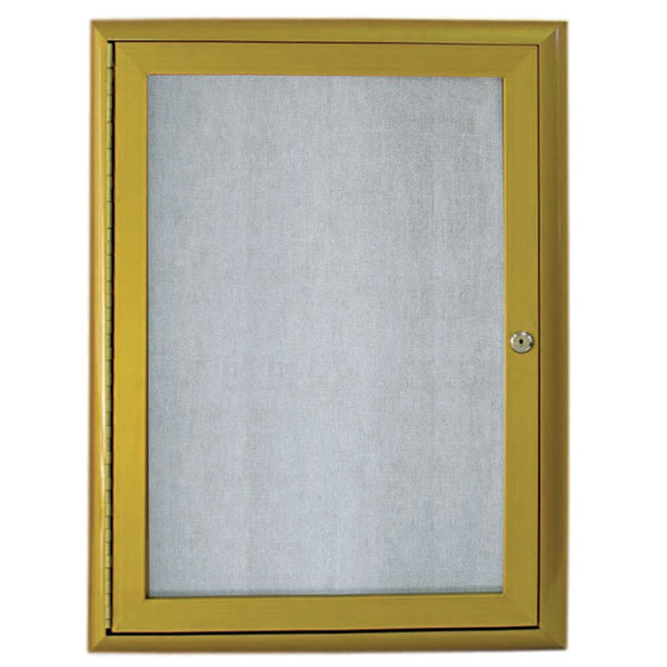 """Aarco OWFC3624LB 36"""" x 24"""" Antique Brass Enclosed Aluminum Indoor / Outdoor Bulletin Board with Waterfall Style Frame"""