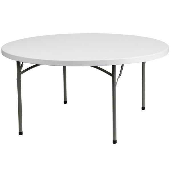 """Flash Furniture DAD-YCZ-152R-GW-GG 60"""" Round Granite White Heavy-Duty Molded Plastic Folding Table"""