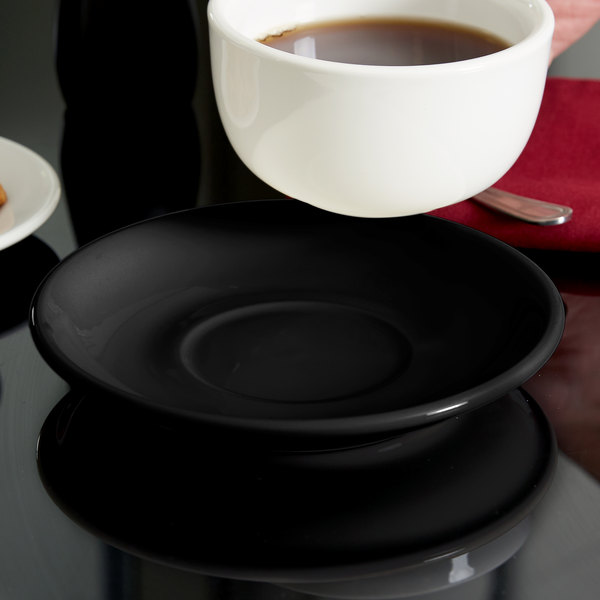 "Tuxton BBE-066 Duratux 6 3/4"" Cappuccino China Saucer - Black - 24/Case"