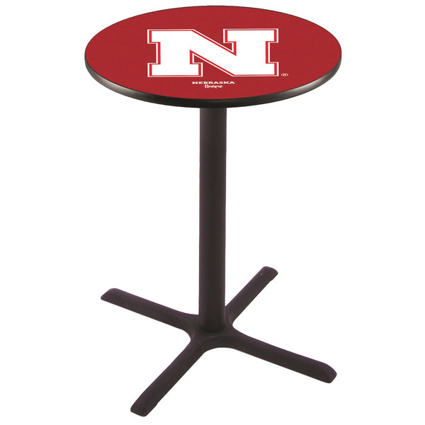 "Holland Bar Stool L211B4228NEBRUN 28"" Round University of Nebraska Bar Height Pub Table Main Image 1"