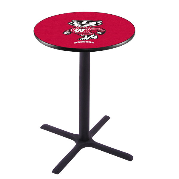"Holland Bar Stool L211B3628WI-BDG 28"" Round University of Wisconsin Pub Table"