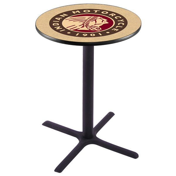 """Holland Bar Stool L211B4228INDN-HD 28"""" Round Indian Motorcycle Bar Height Pub Table Main Image 1"""