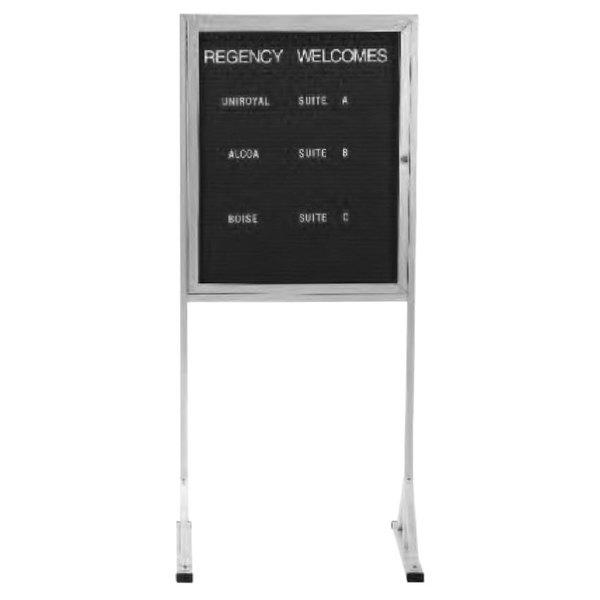 "Aarco FMD3630 36"" x 30"" x 72"" Enclosed Aluminum Indoor Freestanding Message Center with Black Letter Board - 1 Hinged Locking Door"