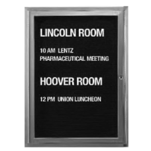 """Aarco ADC2418L 24"""" x 18"""" Enclosed Aluminum Indoor Message Center with Black Letter Board and 3/4"""" Letters - 1 Hinged Door"""