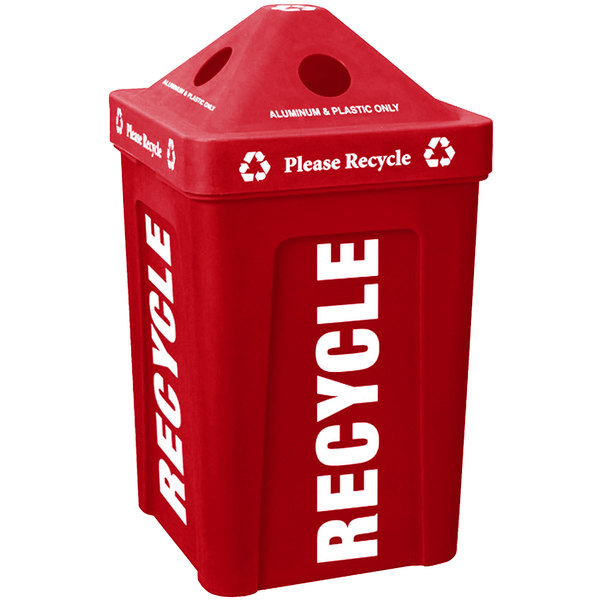 IRP 1070 Red Stacking Pyramid Lid Recycle Bin - 48 Gallon