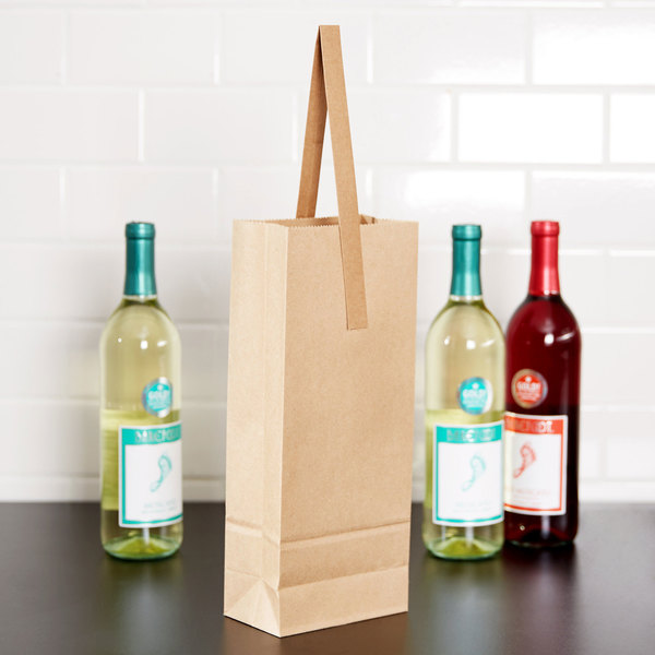 1 Bottle Paper Wine Bag with Handle - 250/Case