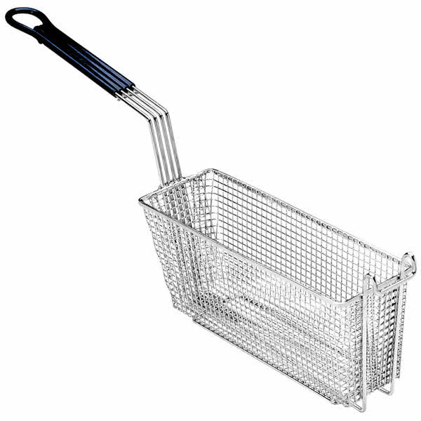 """Anets A4514902 13 1/4"""" x 5 5/8"""" x 5 3/8"""" Triple Size Fryer Basket with Front Hook Main Image 1"""