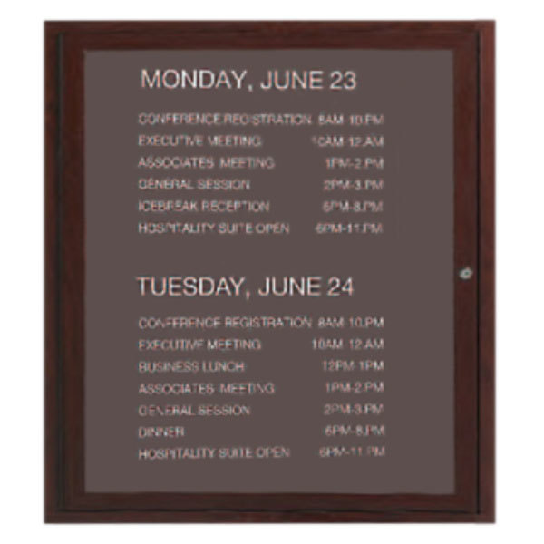 """Aarco OADCW3630L 36"""" x 30"""" Enclosed Hinged Locking 1 Door Aluminum with Powder Coated Cherry Finish Outdoor Directory Board with Black Vinyl Letter Board and 3/4"""" Letters"""