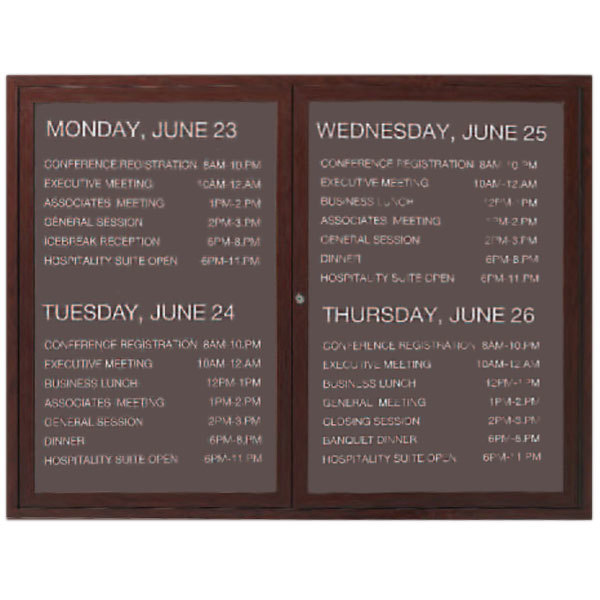 """Aarco OADCW3648L 36"""" x 48"""" Enclosed Hinged Locking 2 Door Aluminum with Powder Coated Cherry Finish Outdoor Directory Board with Black Vinyl Letter Board and 3/4"""" Letters"""