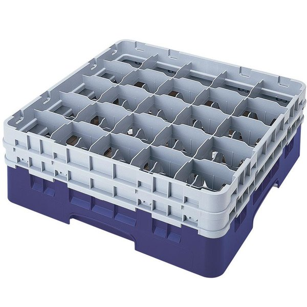 "Cambro 25S1214186 Camrack 12 5/8"" High Customizable Navy Blue 25 Compartment Glass Rack Main Image 1"