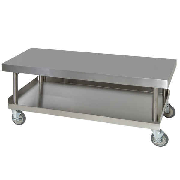 "Anets AGS30X60 30"" x 60"" Stainless Steel Griddle Stand with Undershelf Main Image 1"
