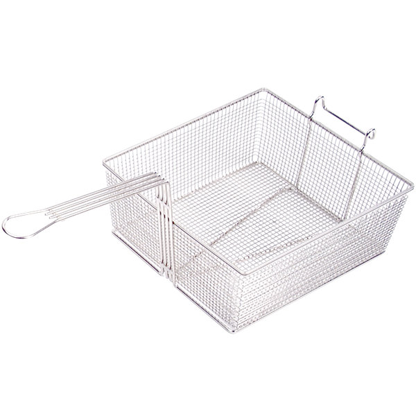 """Anets P9800-09 13 3/4"""" x 12 1/4"""" x 5 1/2"""" Full Size Fryer Basket with Front Hook"""