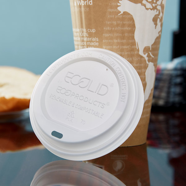 Eco Products EP-ECOLID-N20 20 oz. White Compostable Plastic Hot Cup Lid - 600/Case