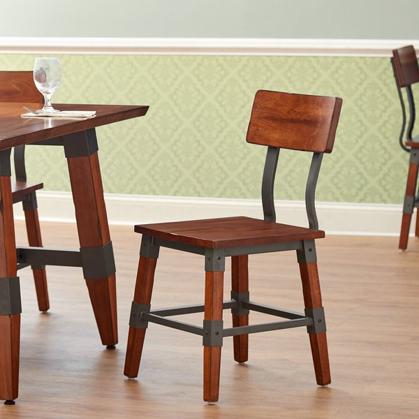 Lancaster Table & Seating Rustic Industrial Dining Side Chair with Antique Walnut Finish Main Image 4
