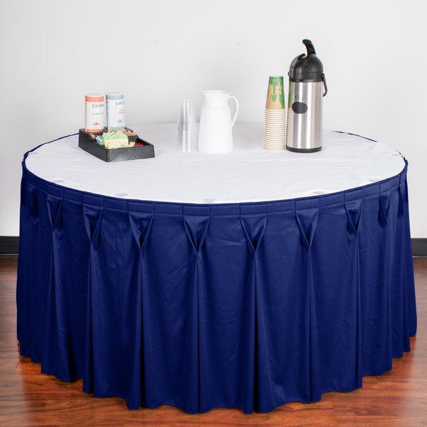 "Snap Drape WYN6V17629-RBLU Wyndham 17' 6"" x 29"" Royal Blue Bow Tie Pleat Table Skirt with Velcro® Clips"