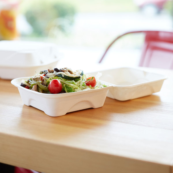 """Eco Products EP-HC6 6"""" x 6"""" x 3"""" White Compostable Sugarcane Takeout Container - 500/Case"""