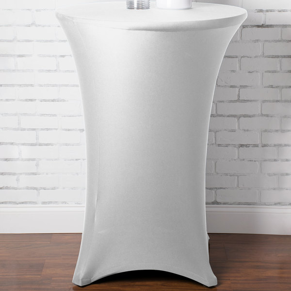 """Marko EMB5026HT30010 Embrace 30"""" Round White Bar Height Spandex Table Cover"""