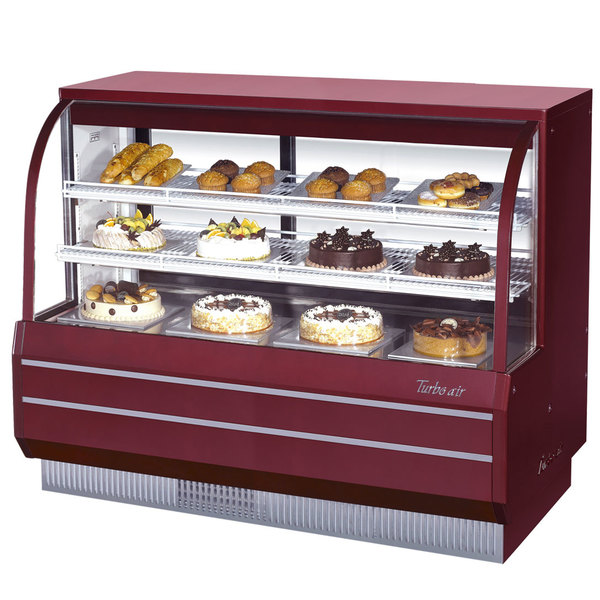 """Turbo Air TCGB-60DR-R-N Red 60"""" Curved Glass Dry Bakery Display Case"""