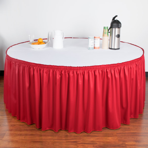 "Snap Drape WYN1V21629-RED Wyndham 21' 6"" x 29"" Red Shirred Pleat Table Skirt with Velcro® Clips"