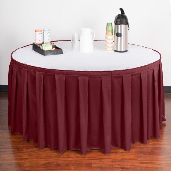 "Snap Drape WYN3V17629-BURG Wyndham 17' 6"" x 29"" Burgundy Box Pleat Table Skirt with Velcro® Clips"