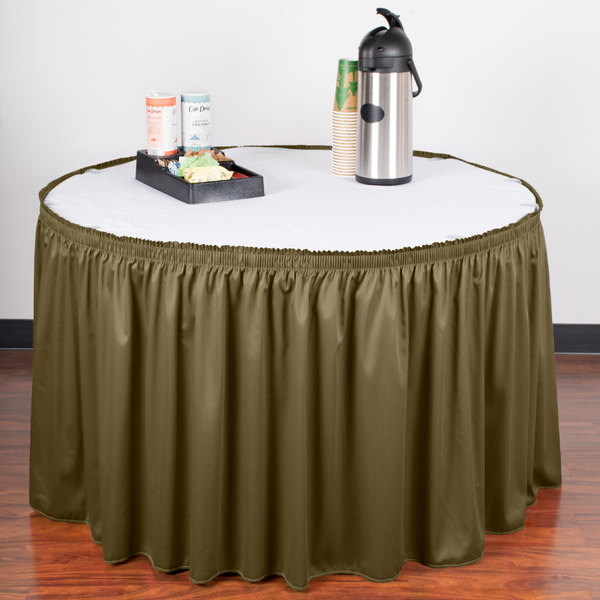 "Snap Drape WYN1V1329-OLV Wyndham 13' x 29"" Olive Shirred Pleat Table Skirt with Velcro® Clips"