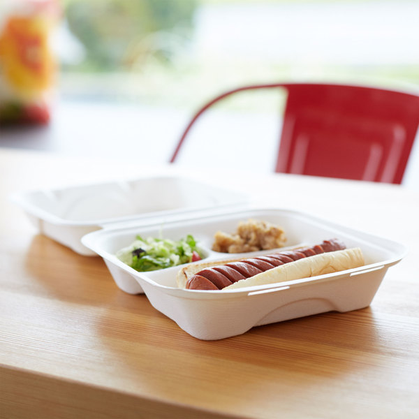 "Eco Products EP-HC83 8"" x 8"" x 3"" White Compostable 3-Compartment Sugarcane Takeout Container - 200/Case"