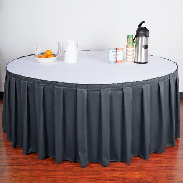 "Snap Drape WYN3V21629-SLBLU Wyndham 21' 6"" x 29"" Slate Blue Box Pleat Table Skirt with Velcro® Clips"