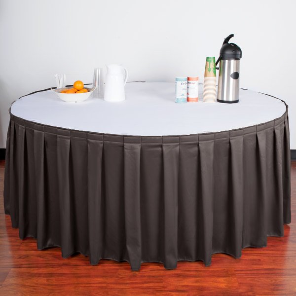 "Snap Drape WYN3V21629-CHAR Wyndham 21' 6"" x 29"" Charcoal Box Pleat Table Skirt with Velcro® Clips"