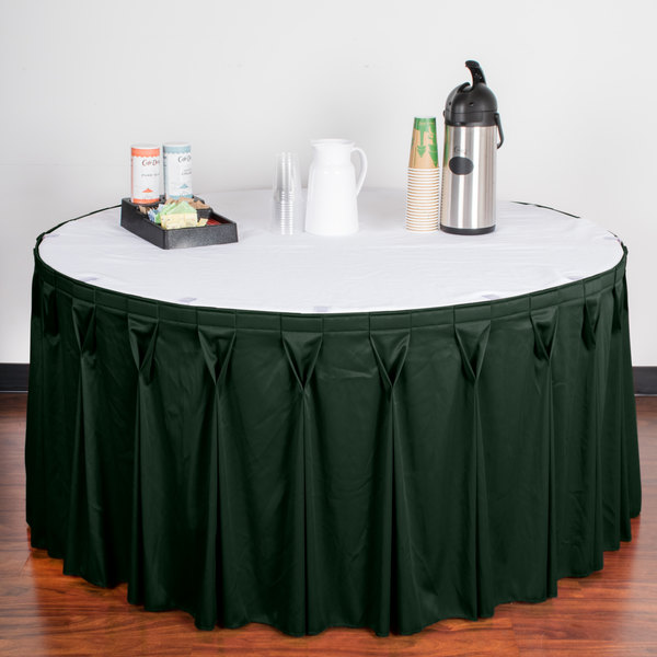 "Snap Drape WYN6V17629-JDE Wyndham 17' 6"" x 29"" Jade Bow Tie Pleat Table Skirt with Velcro® Clips"