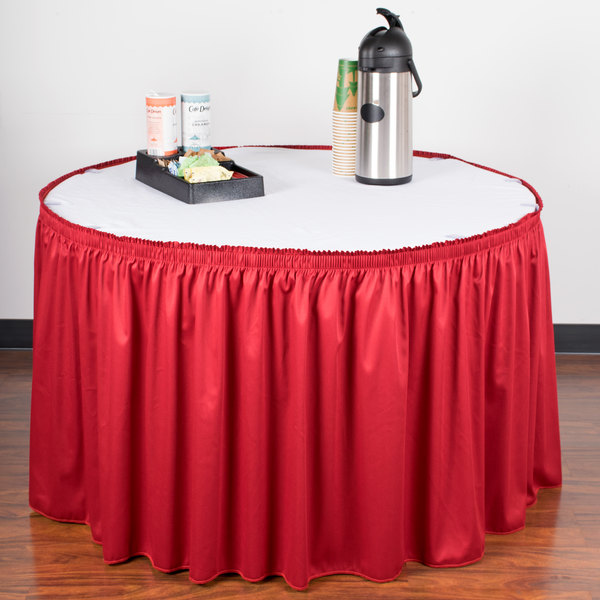 """Snap Drape WYN1V1329-RED Wyndham 13' x 29"""" Red Shirred Pleat Table Skirt with Velcro® Clips"""