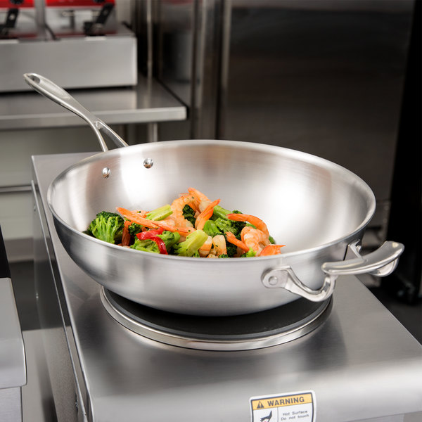 "Vollrath 49418 Miramar Display Cookware 12"" Stir Fry Pan with Helper Handle"