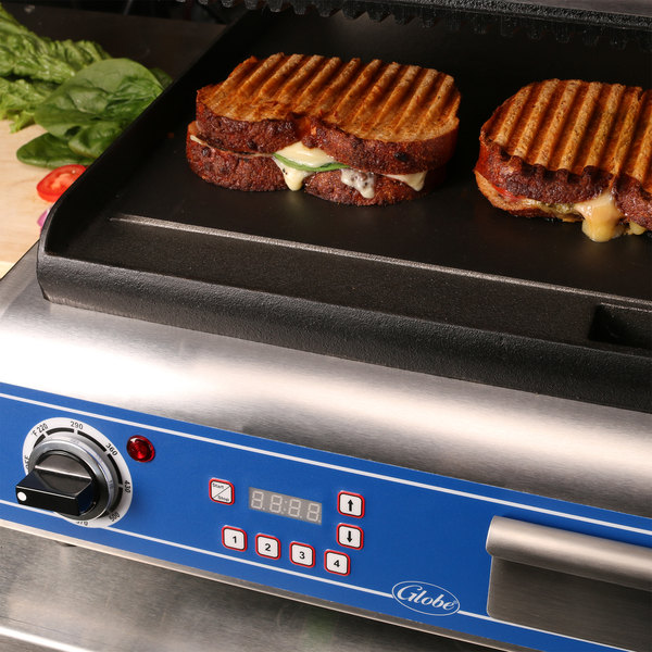 Globe GPGS14D Deluxe Panini Grill with Grooved Top and Smooth Bottom - 120V, 1800W