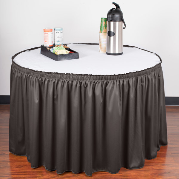 """Snap Drape WYN1V1329-CHAR Wyndham 13' x 29"""" Charcoal Shirred Pleat Table Skirt with Velcro® Clips"""