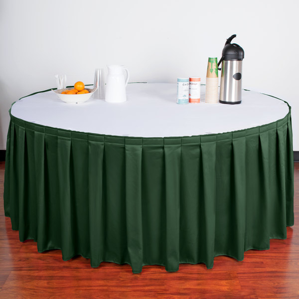 "Snap Drape WYN3V21629-JDE Wyndham 21' 6"" x 29"" Jade Box Pleat Table Skirt with Velcro® Clips"