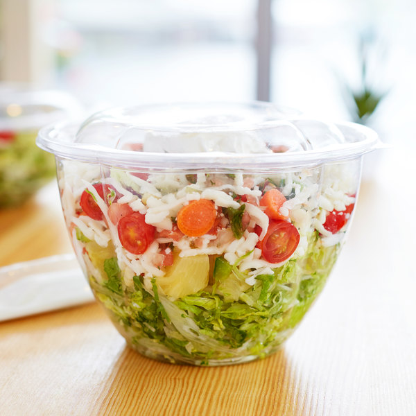 Eco Products EP-SB48 48 oz. Clear Compostable Plastic Salad Bowl with Lid - 150/Case