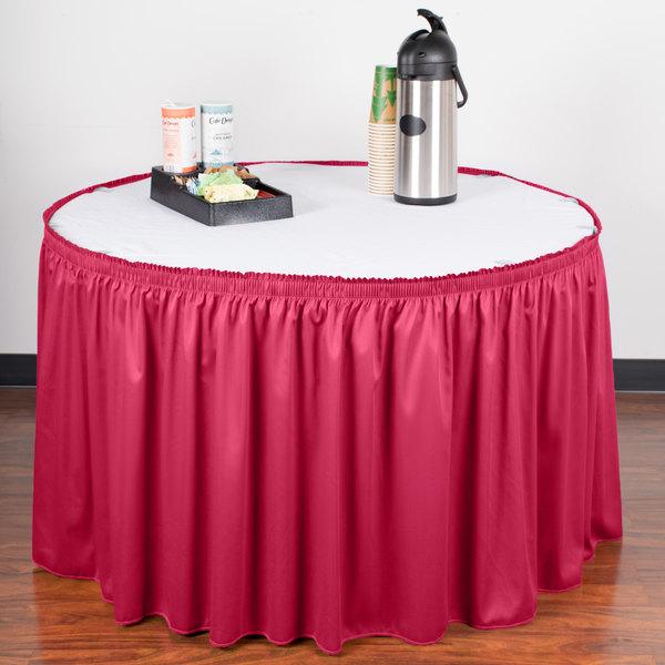 "Snap Drape WYN1V1329-RASP Wyndham 13' x 29"" Raspberry Shirred Pleat Table Skirt with Velcro® Clips"