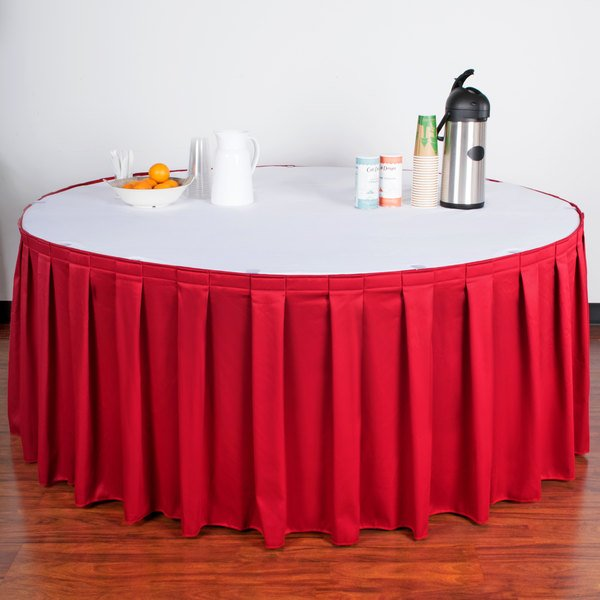 """Snap Drape WYN3V21629-RED Wyndham 21' 6"""" x 29"""" Red Box Pleat Table Skirt with Velcro® Clips"""