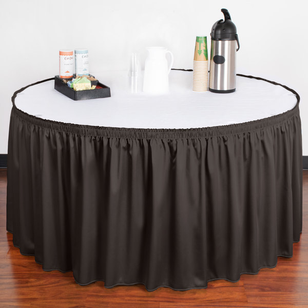 """Snap Drape WYN1V17629-CHAR Wyndham 17' 6"""" x 29"""" Charcoal Shirred Pleat Table Skirt with Velcro® Clips"""