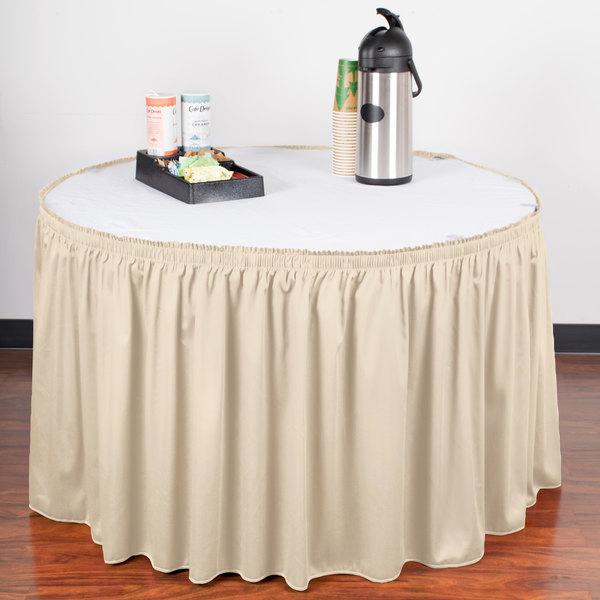 "Snap Drape WYN1V1329-BNE Wyndham 13' x 29"" Bone Shirred Pleat Table Skirt with Velcro® Clips"