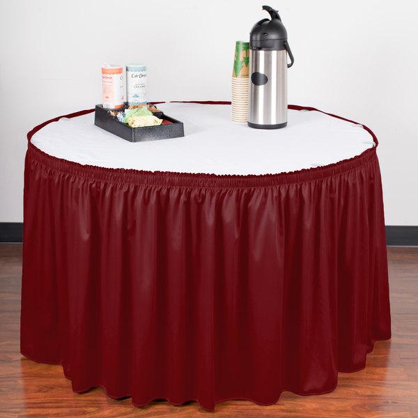 "Snap Drape WYN1V1329-WIN Wyndham 13' x 29"" Wine Shirred Pleat Table Skirt with Velcro® Clips"