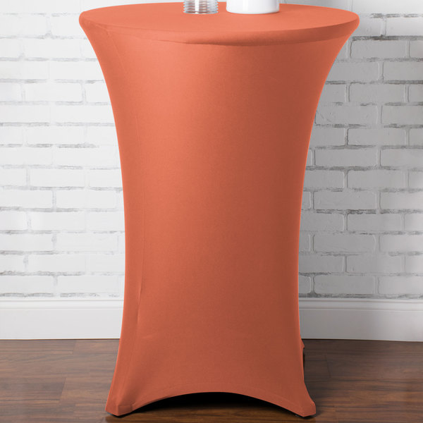 """Marko EMB5026HT30030 Embrace 30"""" Round Peach Bar Height Spandex Table Cover"""