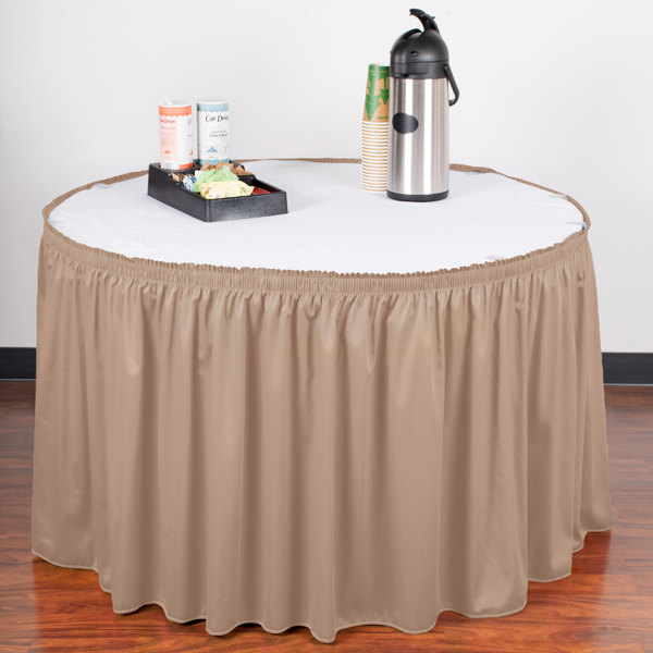"Snap Drape WYN1V1329-SBL Wyndham 13' x 29"" Sable Shirred Pleat Table Skirt with Velcro® Clips"