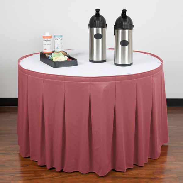 """Snap Drape WYN5V1329-ROS Wyndham 13' x 29"""" Rosewood Continuous Pleat Table Skirt with Velcro® Clips"""