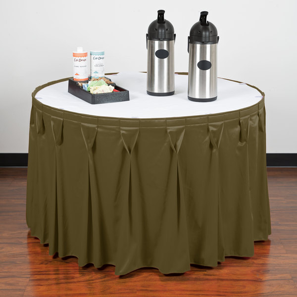 """Snap Drape WYN6V1329-OLV Wyndham 13' x 29"""" Olive Bow Tie Pleat Table Skirt with Velcro® Clips"""