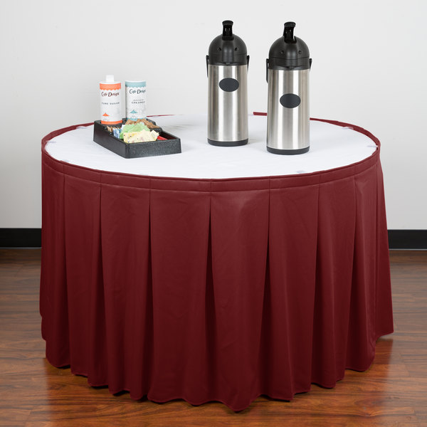 """Snap Drape WYN5V1329-WIN Wyndham 13' x 29"""" Wine Continuous Pleat Table Skirt with Velcro® Clips"""